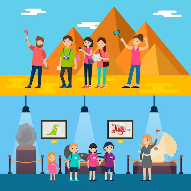 People on excursion horizontal banners Free Vector