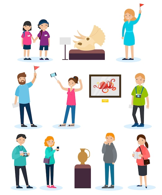 People on excursion set Free Vector