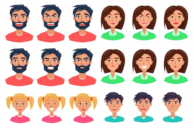 People expressing emotions set of icons on white Premium Vector