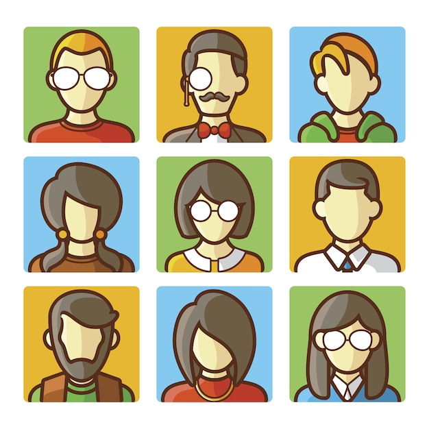 People face collection Free Vector