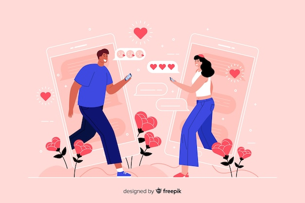 People facing each other while texting concept illustration Free Vector