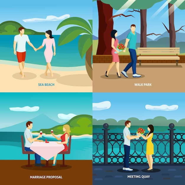 People fall in love flat set Free Vector