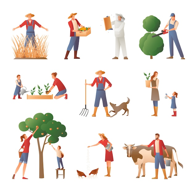 People in farming flat icons set Free Vector