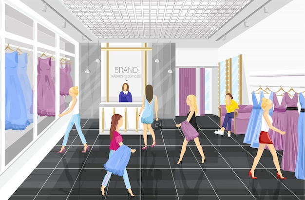 People in a fashion boutique with dresses Premium Vector