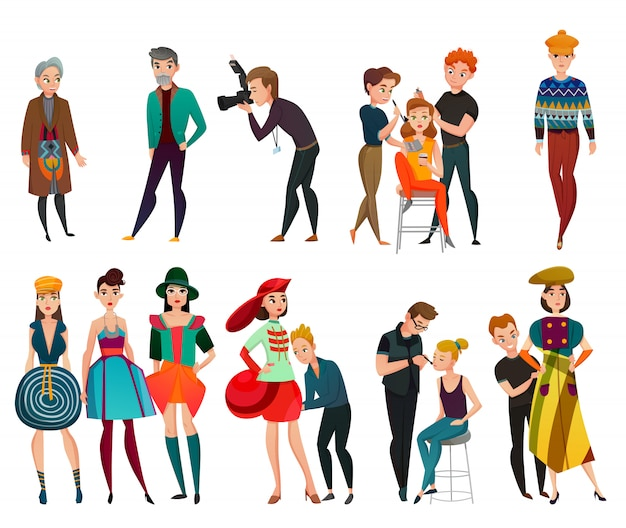 People in fashion industry set Free Vector