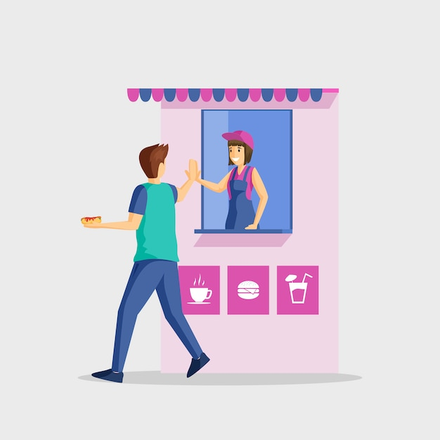 People and fast food stall flat illustration. service satisfaction, farewell gesture. male customer and female shop assistant cartoon characters isolated on white Premium Vector