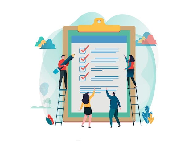 People fill out checklist on a clipboard. Premium Vector