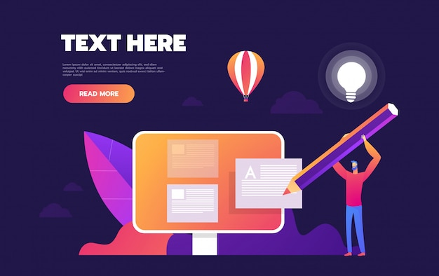 People fill out a form via mobile application landing page template Premium Vector