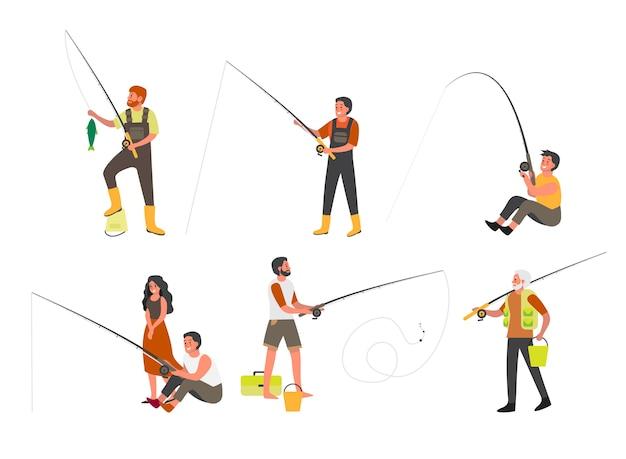 Люди, ловящие рыбу с удочкой и недом набором. летний активный отдых, природный туризм. люди с рыболовным снаряжением и рыбой. соревнования по спортивной рыбалке. иллюстрация Premium векторы
