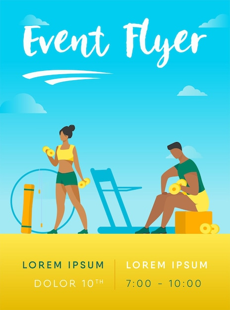 People in fitness club flyer template Free Vector