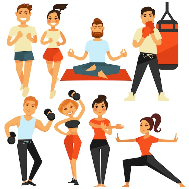 People fitness and sport exercise or training vector icons Premium Vector