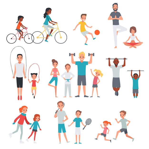 People flat fitness set Free Vector