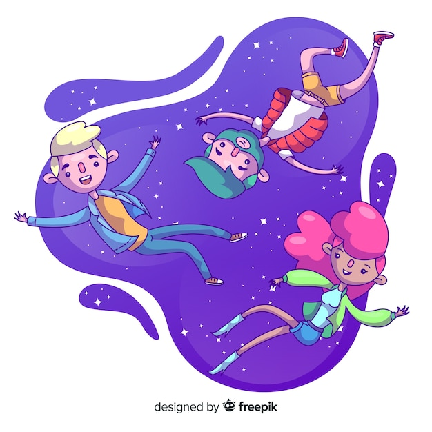 People floating in the air Free Vector