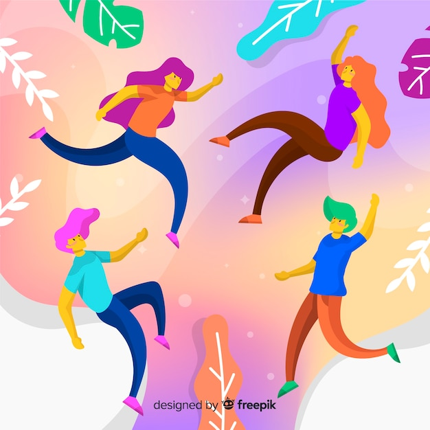 People floating with leaves Free Vector