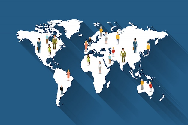 People from different countries on world map Premium Vector