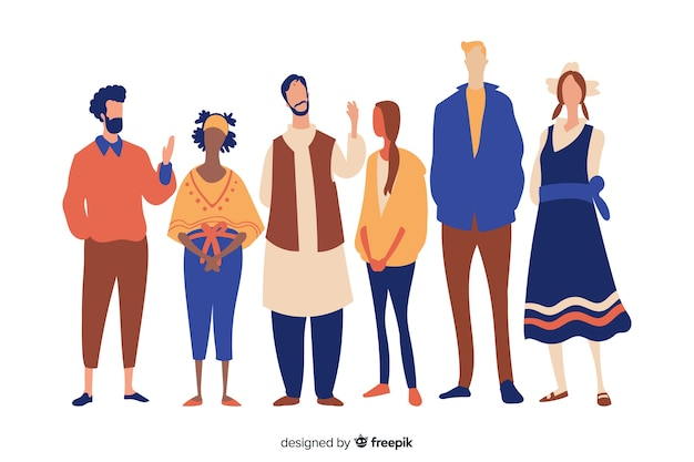 People from different races and cultures Free Vector