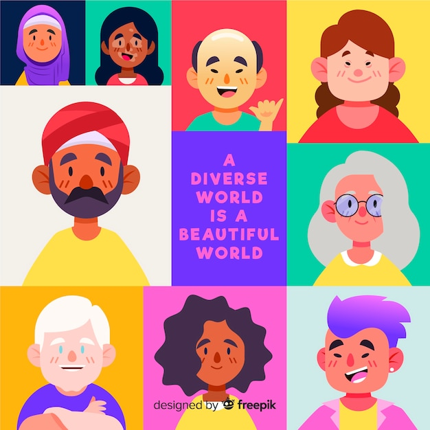 People from differents cultures and races Free Vector