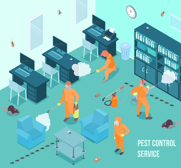 People from pest control service doing disinfection in office 3d isometric vector illustration Free Vector