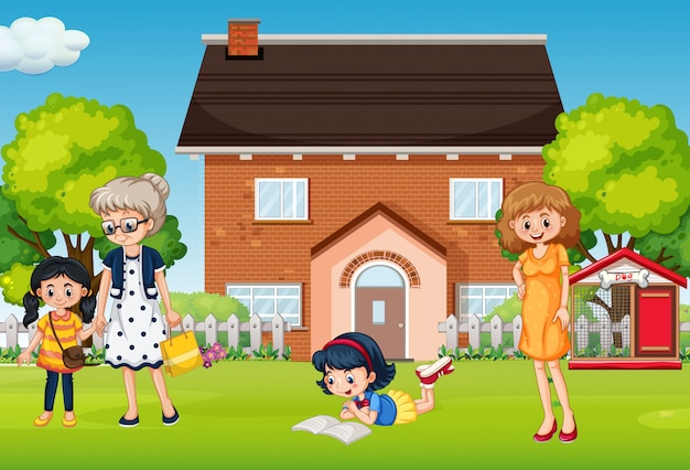 People at the front yard Free Vector