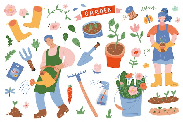 People gardening surrounded by garden tools and plants Premium Vector
