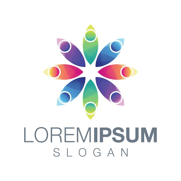 People gardient color logo design Premium Vector