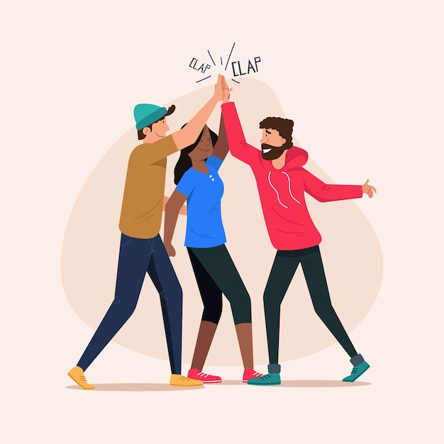 People giving high five Free Vector