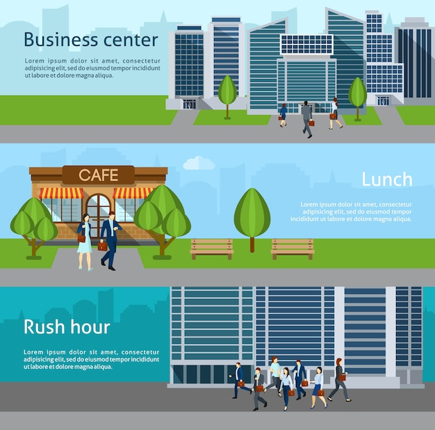 People go to work banner Free Vector