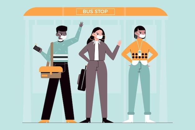 Люди возвращаются к работе с маской для лица на автобусной станции Бесплатные векторы