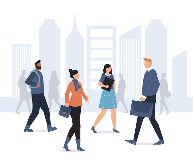 People going back to work illustration Premium Vector