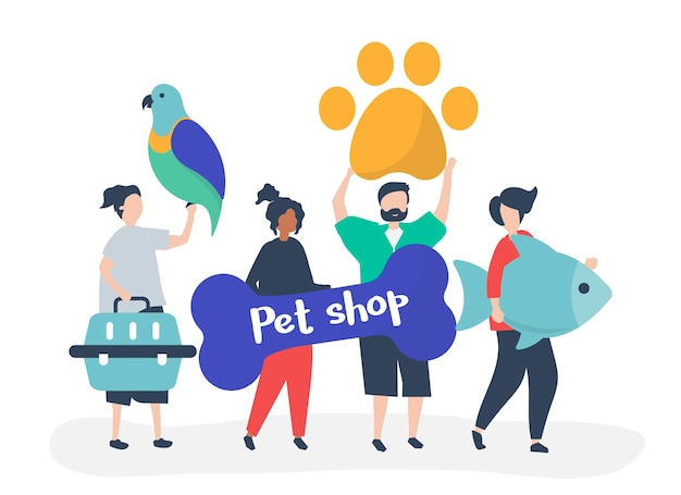 People going to a pet shop Free Vector
