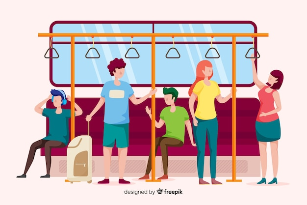 People going on the subway Free Vector