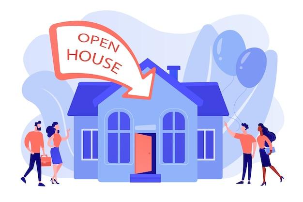 新築祝いのパーティーフラットキャラクターに行く人々。オープンハウス、検査物件のためにオープン、あなたの新しい家、不動産サービスのコンセプトへようこそ。ピンクがかったコーラルブルーベクトル分離イラスト 無料ベクター