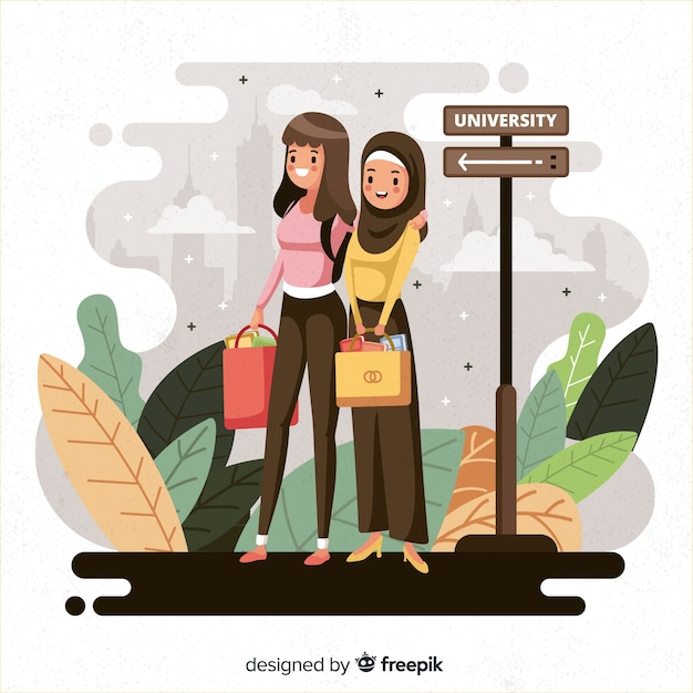 People going to university background Free Vector