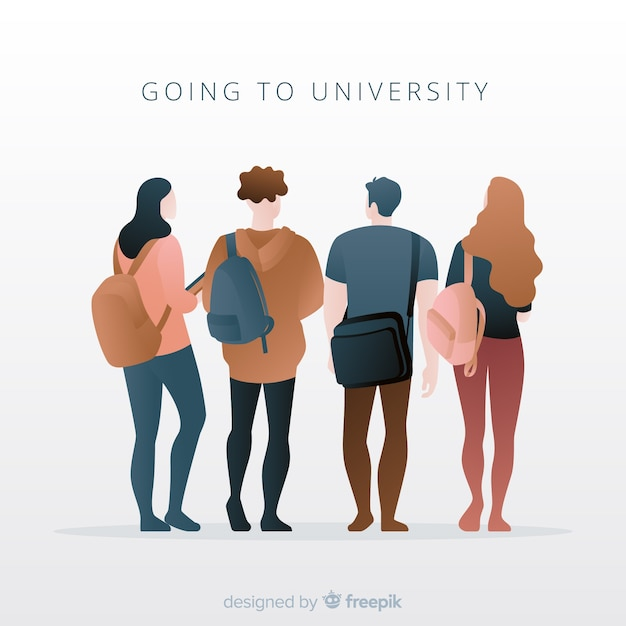 People going to the university pack Free Vector