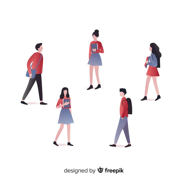 People going to university Free Vector