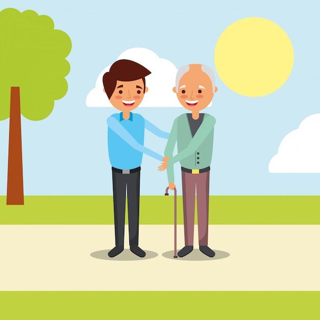 People grandparents characters Premium Vector