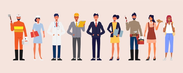 People group different occupation job set. international labor day banner. Premium Vector