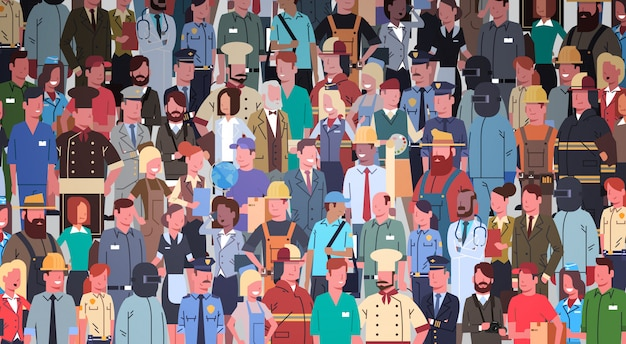 People group different occupation set, employees mix race workers Premium Vector