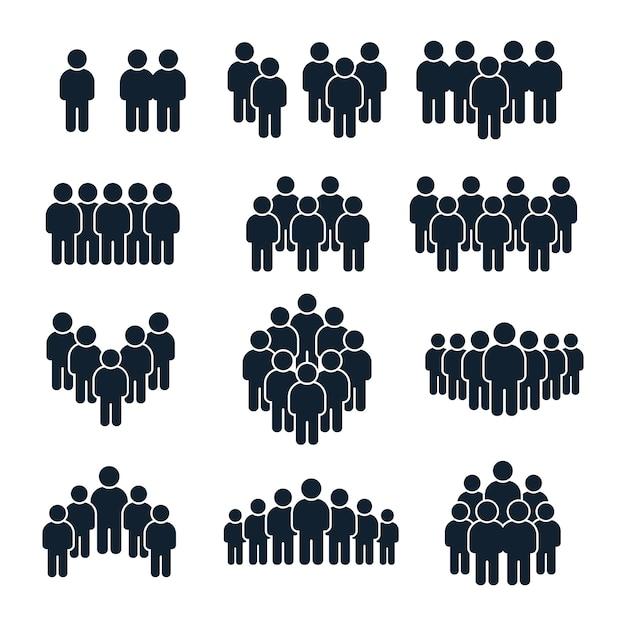 사람들이 그룹 아이콘. 비즈니스 사람, 팀 관리 및 사교 사람 실루엣 아이콘 세트 프리미엄 벡터
