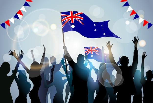 Люди группа силуэт толпа держать флаг австралия день партии Premium векторы