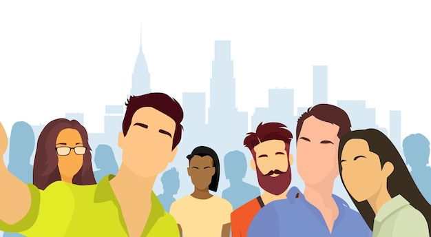 People group taking selfie photo city view Premium Vector