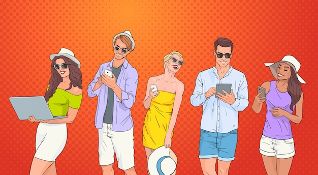 People group use cell smart phone tablet laptop computer chatting online over pop art colorful retro background Premium Vector