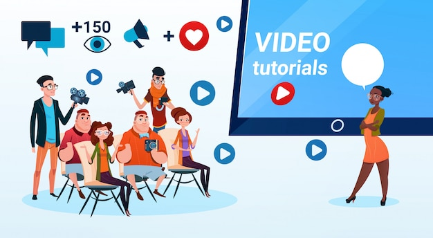 People group video blogger online stream blogging subscribe concept Premium Vector