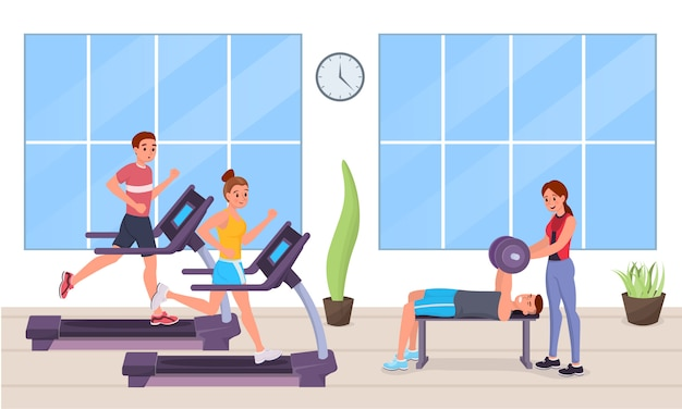 People in gym flat style Premium Vector