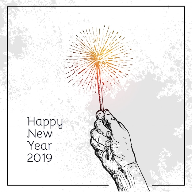 People hand hold a burn fireworks Premium Vector