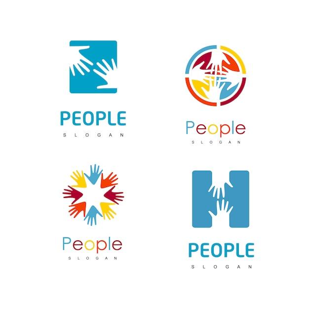 People hand logo set Premium Vector