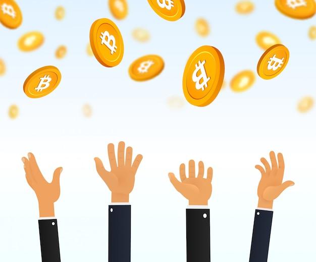 Люди руками ловят падающую биткойн криптовалюту с неба. Premium векторы