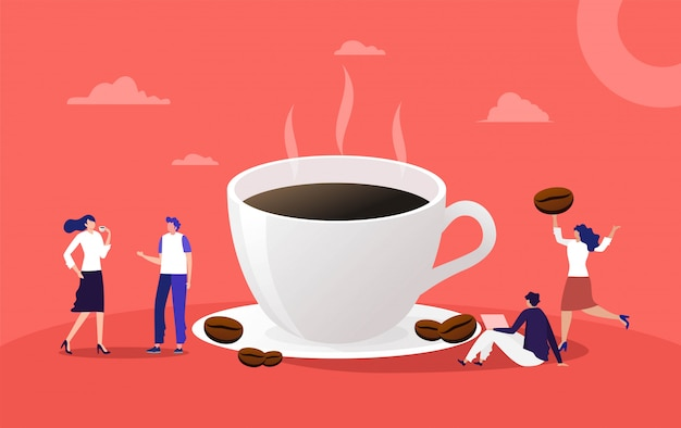 People have a conversation and drink a cup of coffee, woman and man drink a espresso at office  illustration ,   landing page, template, ui, web, homepage, poster, banner Premium Vector
