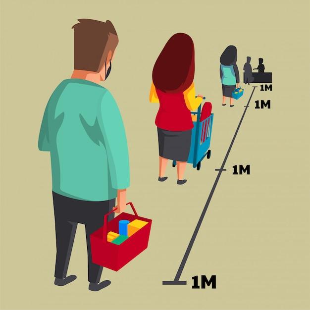 人々は食料品の列に並ぶ間、社会的距離と身体的距離があります Premiumベクター