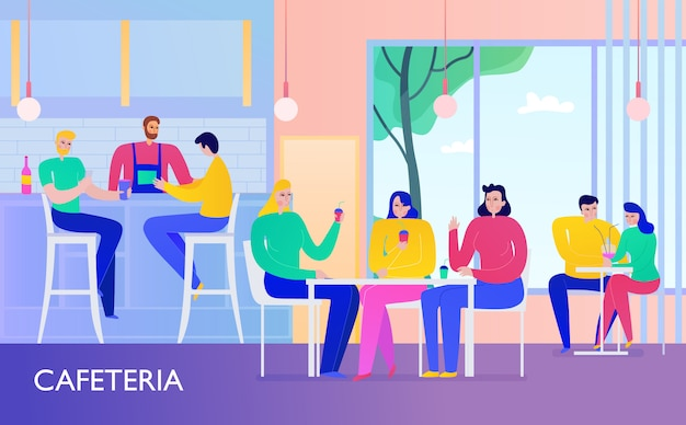 People having drinks in cafe flat vector illusration Free Vector